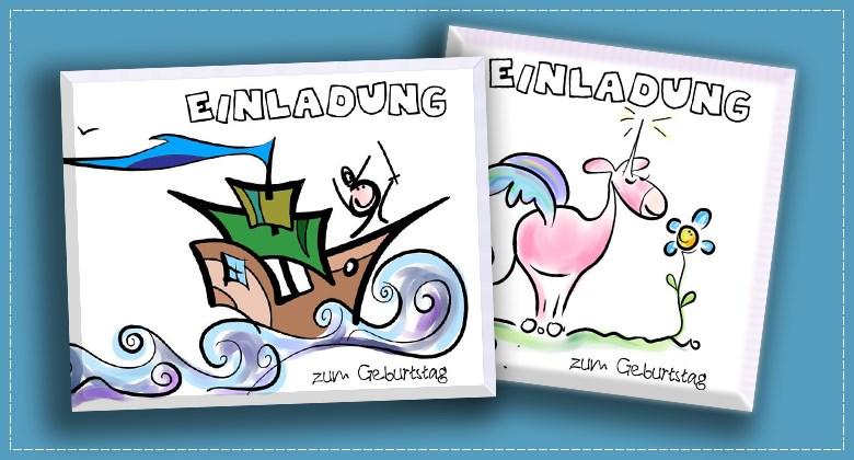 Einladung Kindergeburtstag - Muster für eine Einladung zum Kindergeburtstag für einen Jungen und ein Mädchen