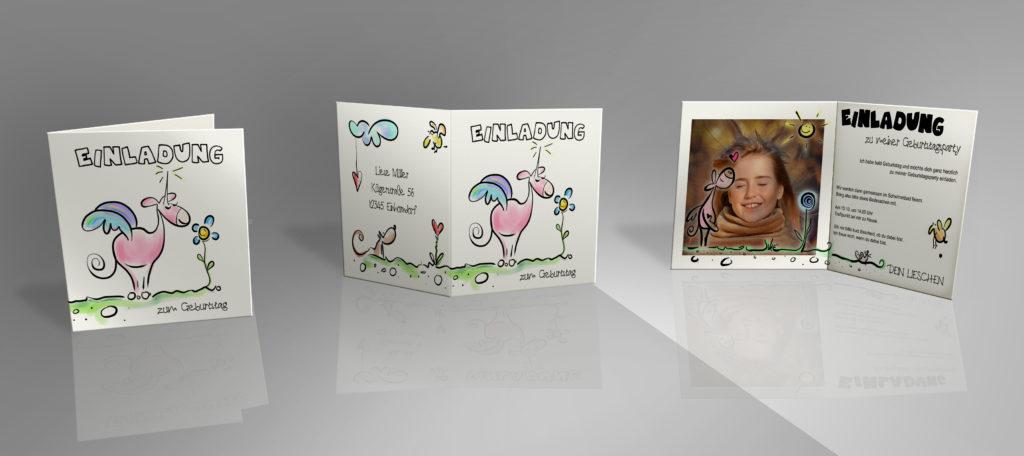 kolorierte Vorlage Einladung für den Kindergeburtstag mit rosa Einhorn