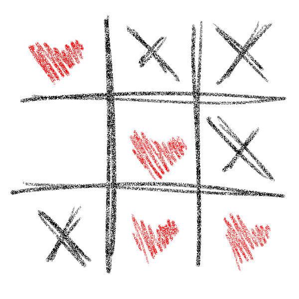 Valentinsgrüße mit 3 Gewinnt Spiel
