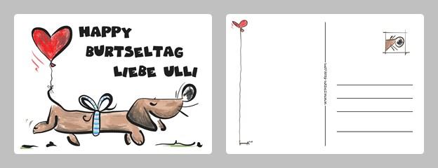 Beispiel Geburtstagswunsch Karte mit Hund und Herz